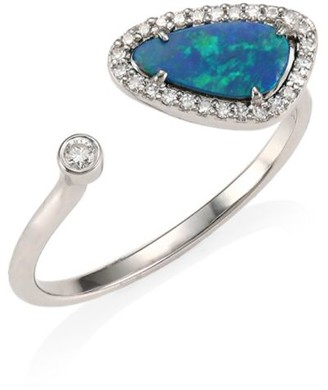 Meira T 14K White Gold, Diamond & Opal Open Ring