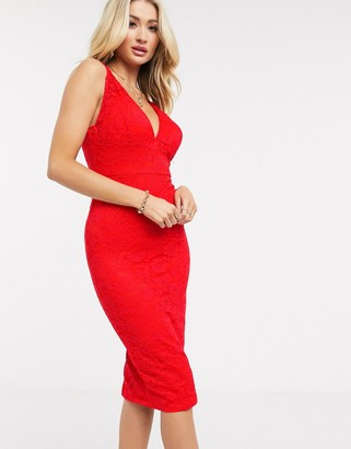 AX Paris lace pencil dress in red