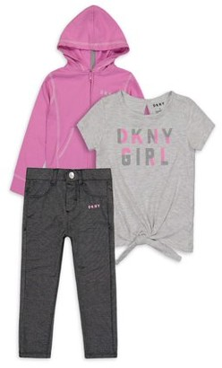 DKNY Toddler Girl Long Sleeve Zip-up Hoodie, Tie-front T-shirt & Knit Denim Cropped Jeans, 3pc Outfit Set (2T-4T)