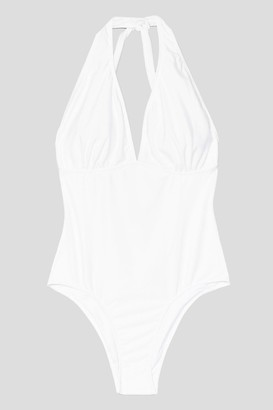 Nasty Gal Womens Plus Size Halter Plunge Swimsuit - White - 16, White