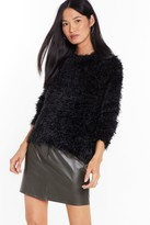Nasty Gal Womens Knit Decision Fluffy Crew Neck Jumper - black - S