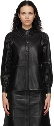 Ganni Black Leather Shirt