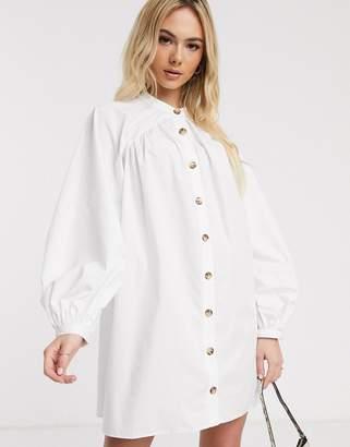Asos Design DESIGN mini cotton trapeze dress with button through in khaki-White