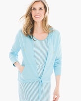 Chico's Viola Tie-Front Hooded Sweater