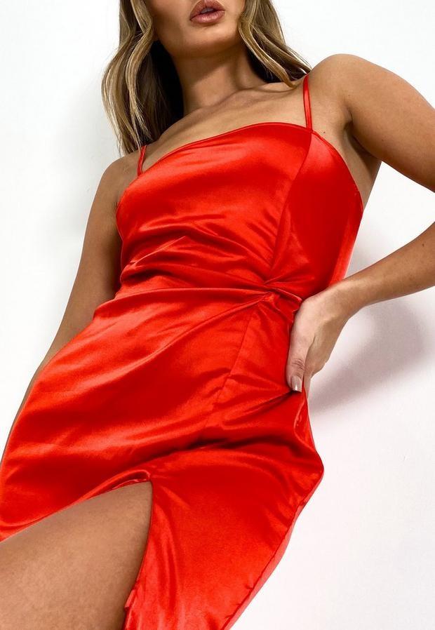 Missguided Red Satin Twist Front Mini Dress