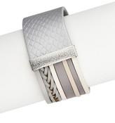 Saachi Grey Argyle Genuine Leather Bracelet