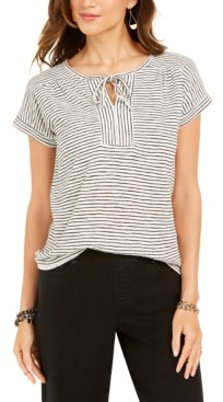 Style&Co. Style & Co Petite Striped Tie-Neck Top, Created for Macy's