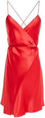 Mason by Michelle Mason Open-back Silk-charmeuse Mini Wrap Dress