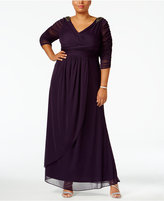 Adrianna Papell Plus Size Embellished Faux-Wrap Gown