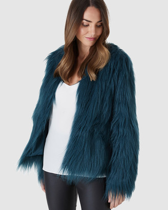 Everly Collective - Women's Green Jackets - Marmont Faux Fur Jacket - Size One Size, XS at The Iconic