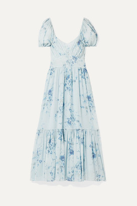 LoveShackFancy Angie Gathered Floral-print Silk-georgette Maxi Dress - Light blue