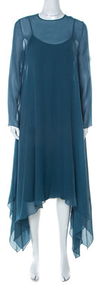 Max Mara Pianoforte Teal Blue Silk Handkerchief Hem Dress M