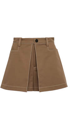 Alexis Laz Pleated Cotton-Twill Shorts Size: L
