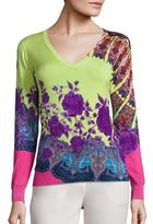 Etro Floral V-Neck Stretch-Silk Knit Top