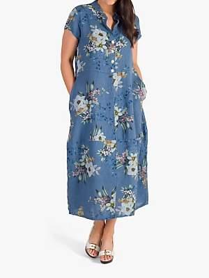 chesca Chesca Japanese Floral Linen Dress, Blue