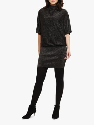 Phase Eight Blouson Becca Shimmer Mini Dress, Black