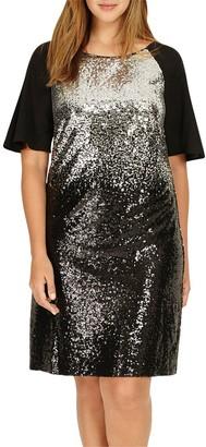 Studio 8 Halle Sequin Embellished Dress, Black/Silver