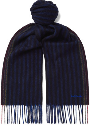 Paul Smith Logo-Embroidered Fringed Striped Wool And Cashmere-Blend Scarf