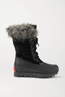 Sorel Joan Of Arctic Next Waterproof Faux Fur-trimmed Suede And Leather Snow Boots - Black