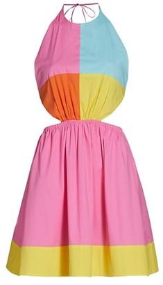 STAUD Eliana Colorblock Mini Dress