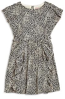 BCBGMAXAZRIA Girls' Leopard Print Ruffled Crepe Dress - Little Kid