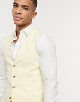 ASOS DESIGN super skinny suit suit vest in lemon yellow