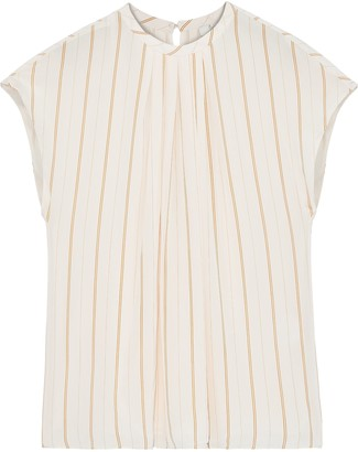 Joie Tyanna Gathered Striped Voile Top