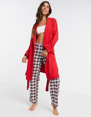 LAUREN by Ralph Lauren soft collared dressing gown in red