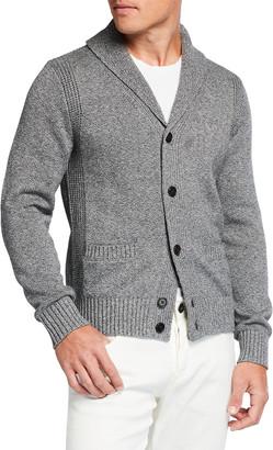 Neiman Marcus Men's Melange Cotton Shawl-Collar Cardigan Sweater