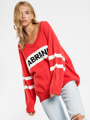 Abrand A Bombay Fleece Jumper in Red White Black