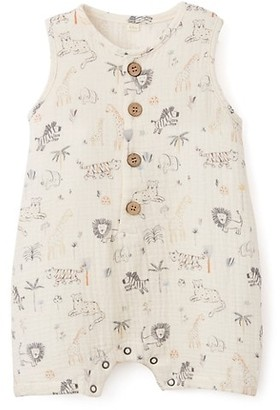 Elegant Baby Baby Boy's Safari-Print Shortall