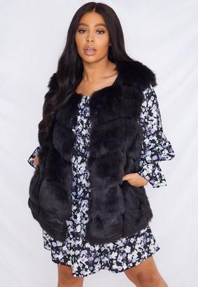 Missguided Plus Size Black Faux Fur Bubble Gilet