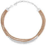 Lucky Brand Silver-Tone Brown Leather Choker Necklace