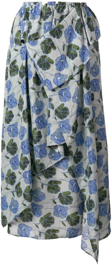 Christian Wijnants asymmetric printed skirt