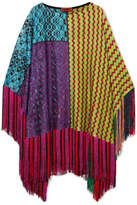 Missoni Fringed Metallic Crochet-knit Poncho - Purple