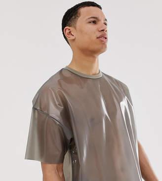 Asos Design DESIGN Tall Festival oversized t-shirt in transparent fabric in black