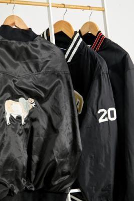 Urban Renewal Vintage Black Satin Varsity Bomber Jacket - Black S/M at Urban Outfitters