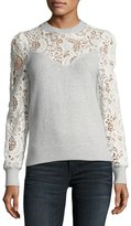 Rebecca Taylor Crewneck Long-Sleeve Mixed-Lace Pullover Sweater