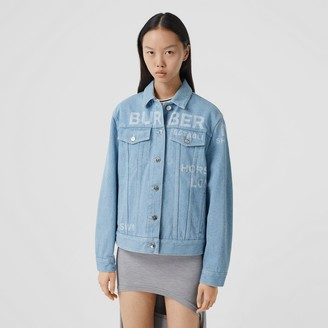 Burberry Horseferry Print Bleached Denim Jacket