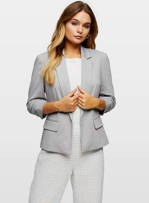 Miss Selfridge Grey Ruche Sleeve Ponte Blazer