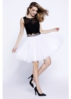 Nox Anabel - Two-Piece Lace Bateau Crop Top Homecoming Party Dress 6224