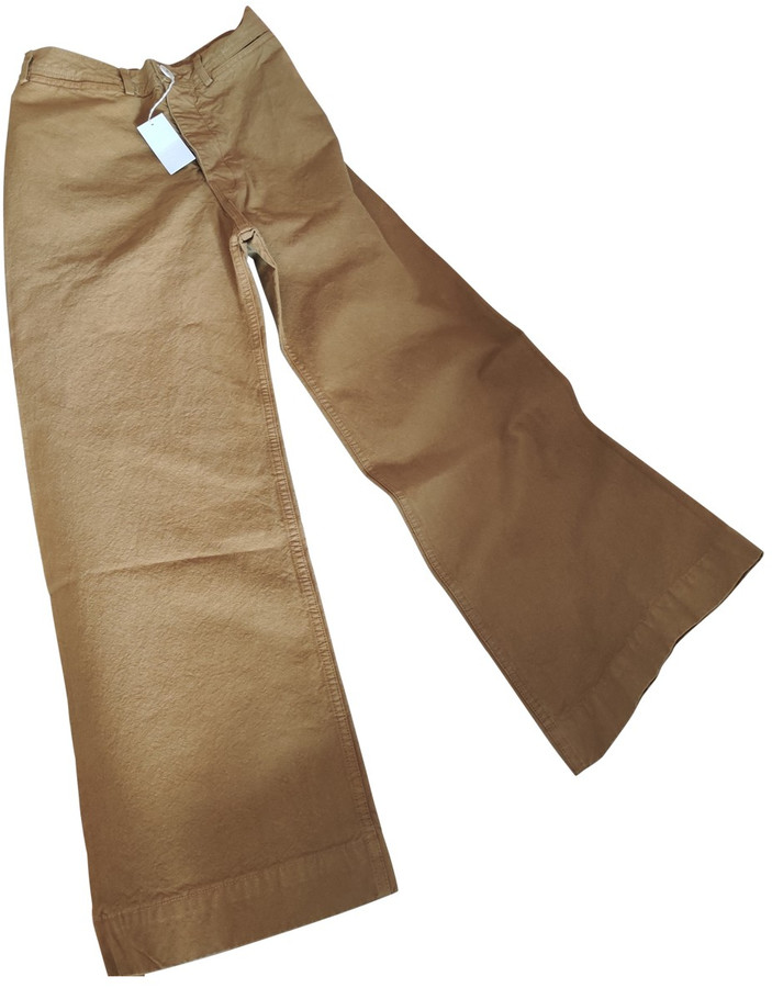Jesse Kamm Camel Cotton Trousers for Women