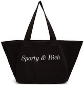 Sporty and Rich Black Classic Logo Tote