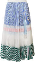 Sacai Pleated Striped Cotton And Organza Midi Skirt - Blue