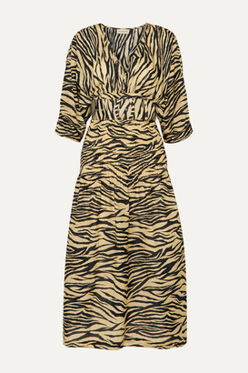 Nicholas Belted Smocked Zebra-print Cotton And Silk-blend Midi Dress - Neutral