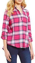 Westbound Y-Neck Roll-Tab Sleeve Split Back Hi-Lo Plaid Shirt
