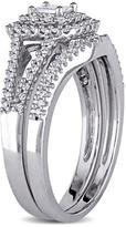 0.62ctw Diamond Engagement Ring and Wedding Band 14K White Gold 2-piece Set
