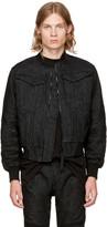 Raw Research Black Denim Deline Bomber Jacket
