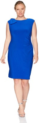 Jessica Howard JessicaHoward Plus Size Womens Cap Sleeve Side Tuck Sheath