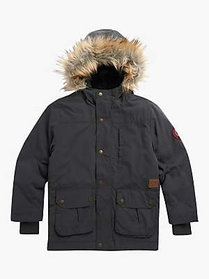 Animal Boys' Pole Parka Coat, Dark Grey